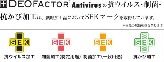 DEOFACTOR®の抗ウイルス・制菌防臭加工は、SEKマークを取得しています